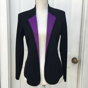 Exclusively Misook Purple Lapel Knit Blazer Jacket